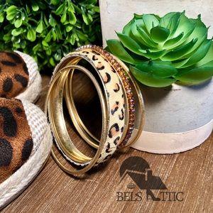 Jewelry - Leopard Print Beaded Bangle Bracelet Set of 4